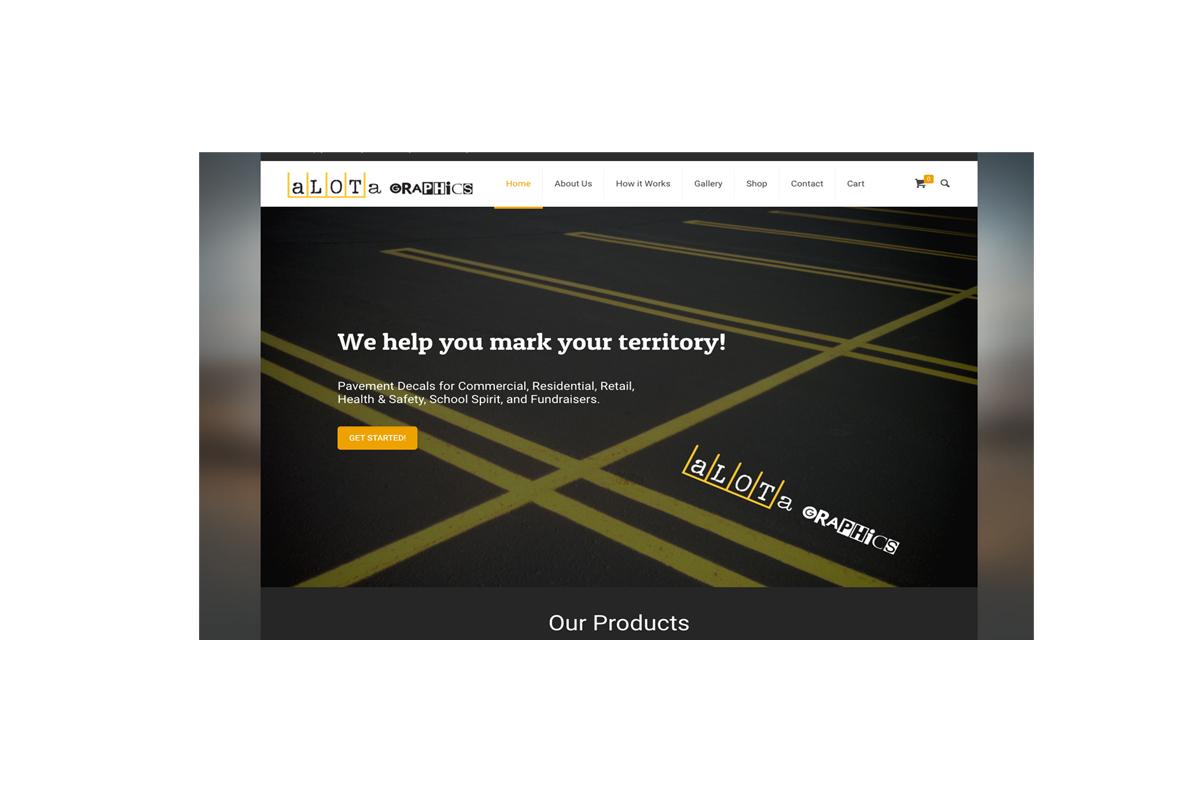 Alotagraphics.com webpage home page