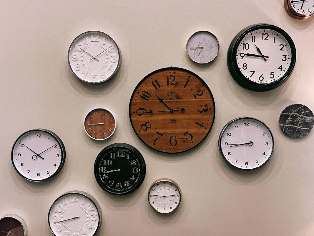 Time Saving strategies wall of clocks