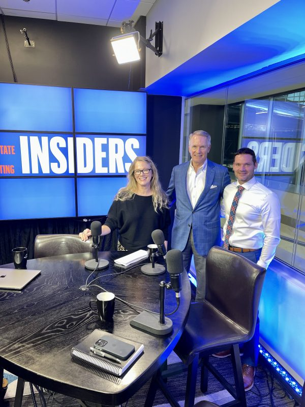 sandy hibbard with marc miller and dr bruce lund on the set of the insiders