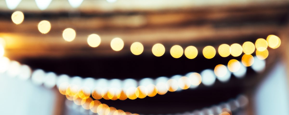 string of party lights host a charity event